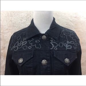 Chicos Platinum Dark Jean Jacket Embroidered Small